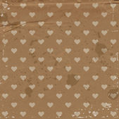 Vector old craft paper vintage background with hearts pattern — Stock Vector