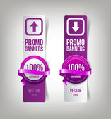 Purple paper banners with round plastic badges with silky decorative ribbons, — 图库矢量图片