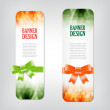 Colorful vector banners with elegant backgrounds decorated with silky ribbon bows — Stock Vector
