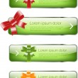 Bright green glossy vector buttons - banners with silky glossy ribbons and bows — Stock Vector