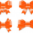 Vector satin ribbon bow knots collection - orange — Imagens vectoriais em stock