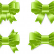 Vector satin ribbon bow knots collection - green — Vettoriali Stock