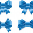 Vector satin ribbon bow knots collection - blue — Stok Vektör
