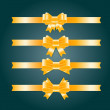 Vector satin ribbons and bow knots collection - golden yellow — Imagens vectoriais em stock