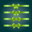 Vector satin ribbons and bow knots collection - green — Imagens vectoriais em stock