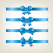 Vector satin ribbons and bow knots collection - blue — Stockvektor