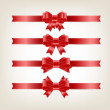 Vector satin ribbons and bow knots collection - red — Stockvektor