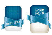 Two blue vector banners braided with silky glossy ribbons — Stockvektor