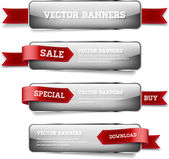 A set of gray vector glossy horizontal banners with red satin ribbons — Stock Vector