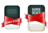 Two colorful vector banners braided with red silky glossy ribbons — Stock Vector