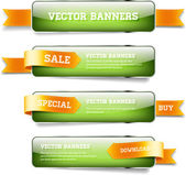A set of green vector glossy horizontal banners with golden satin ribbons — Stock Vector