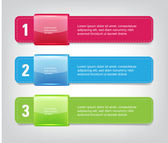 Vector One Two Three steps banners with glossy colorful tags — Stok Vektör