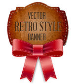 Vintage cardboard old paper retro style label decorated with red silky bow — Vettoriale Stock