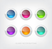 A set of white vector glossy plastic buttons with colorful glass centers — Stock Vector