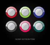 A set of vector glossy plastic buttons — Stock Vector