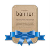 Vector vintage style cardboard retro banner decorated with blue satin ribbon and bow — Stockvektor