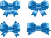 Vector satin ribbon bow knots collection - blue — Stock Vector