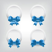 Vector white plastic round badges with blue shiny satin ribbon bow knots — Stock Vector