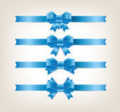 Vector satin ribbons and bow knots collection - blue — Vetor de Stock