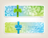 Two vector banners with bright colorful floral backgrounds and silky ribbon — Stock Vector