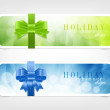 Two vector banners - stickers with bright colorful backgrounds and silky ribbon bow knots — Image vectorielle