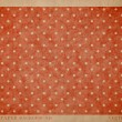 Vector vintage worn out paper card with worn out red dotted geometric print — ストックベクタ