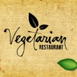 Vector handwritten calligraphy Vegetarian over old vintage canvas background — Stockvektor