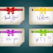 Vector note papers with silky ribbon bow knots — Image vectorielle