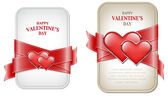 Vector valentine's day banners with satin red ribbon and two glossy hearts — Vettoriale Stock