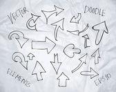 Vector hand drawn sketchy doodle arrows — Vecteur