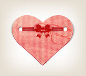 Vector paper handmade paper textured heart with silky ribbon bow knot — Cтоковый вектор