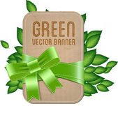 Vector vintage style label - banner with green leaves — Stock Vector