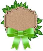 Vector vintage stijl label - banner met groene bladeren — Stockvector