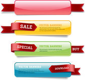 A set of vector glossy horizontal banners with red satin ribbons — 图库矢量图片