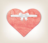 Vector paper handmade paper textured heart with silky ribbon bow knot — 图库矢量图片