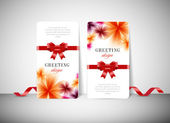 Two vector greeting cards with stylish flower background and silky ribbon bow knots — Vecteur