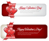 Vector valentine's day banners with satin red ribbon and two glossy hearts — Stock Vector
