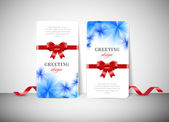 Two vector greeting cards with stylish blue flower background — Stok Vektör