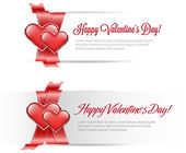 Vector valentine's day banners with satin red ribbon and two glossy hearts — ストックベクタ