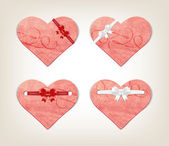 Vector collection of hand made paper textured hearts with silky ribbon bow knots — Stock Vector