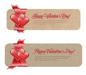 Vector valentine's day paper cardboard banners — Vetorial Stock