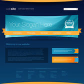 Blue web page design template — Stock Vector
