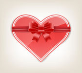Glossy heart with silky ribbon bow knot — Stock vektor