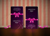 Two vector greeting cards with festive silky ribbon bow knots — Vector de stock