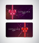 Vector gift card templates with modern dark glowing backgrounds and silky ribbon bow knots — Stock Vector