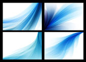 Bright blue vector abstract smooth backgrounds set — Stock Vector