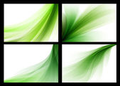 Bright green vector abstract smooth backgrounds set — Stock Vector