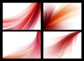 Heldere rode vector abstracte glad achtergronden instellen — Stockvector