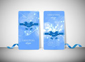 Two vector greeting cards with modern colorful blue glowing background — Stock vektor