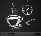 Vector doodles chalk on black board - cup of coffee, clock and spoon — Stock Vector